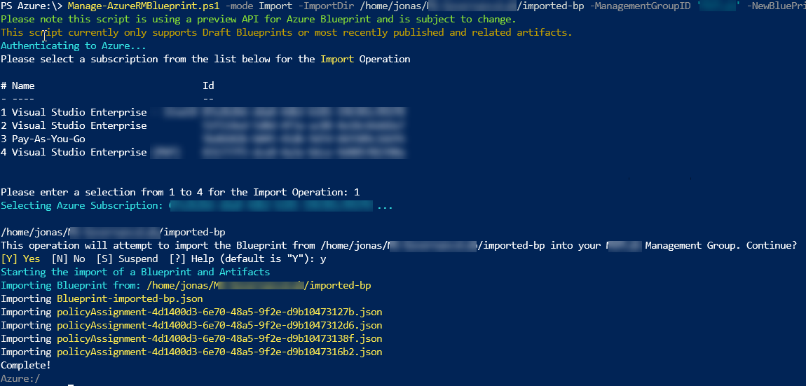 Export and import Azure Blueprints definitions - JFE's Tech Blog